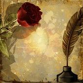 Tło grunge z różą. — Zdjęcie stockowe