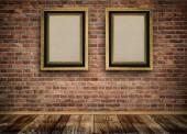 Vintage wooden frames on bricks wall. — Stok fotoğraf