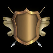 Gold riveted shield with scroll of parchment and spears. — Foto Stock