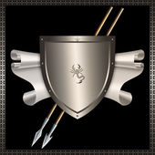 Shield with spears and parchment scroll. — Stock Photo