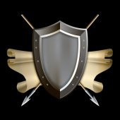 Medieval shield with scroll and two spears. — Stock Photo