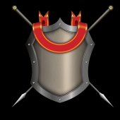 Silver riveted shield with red ribbon and two spears. — Stockfoto