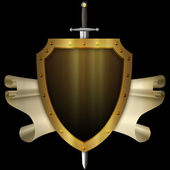 Ancient gold shield with gold scroll and sword on black backgrou — Stock Photo
