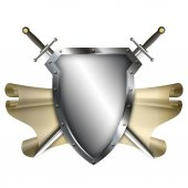 Ancient shield with scroll and two swords on white background. — Stock fotografie