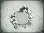 Ročník pozadí s květinovými rám. — Stock fotografie