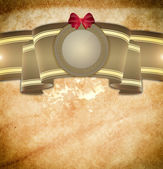 Vintage background with ribbon and decorative frame. — Stock Photo