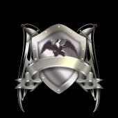 Tarczy herbowej srebrnej wstążki i miecze. — Zdjęcie stockowe