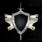 Серебряный клепаных щит с мечом и прокрутки. — Стоковое фото