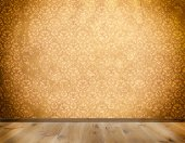 Wall with old-fashioned wallpaper and wooden floor. — Stock Photo