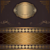 Vintage background with gold frame and decorative elements. — Stock Photo