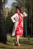Woman in vintage clothes — Stok fotoğraf