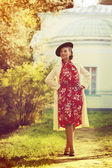 Woman in vintage clothes — Stock Photo