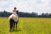 Девушка и лошадь — Стоковое фото
