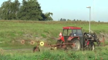 Tractor mows the lawn — Vídeo stock