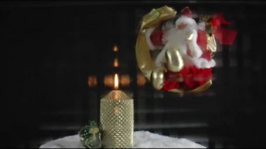 Burning candle and christmas — Stock Video