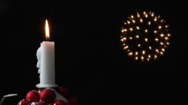 Lighted candle spins around — Stock Video
