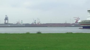 Seafaring vessel at the New Waterway — Stok video
