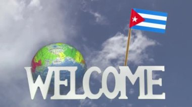 Turning globe and small paper flag of CUBA — Stock Video