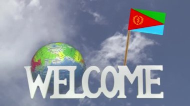 Turning globe and small paper flag of ERITREA — Stock Video
