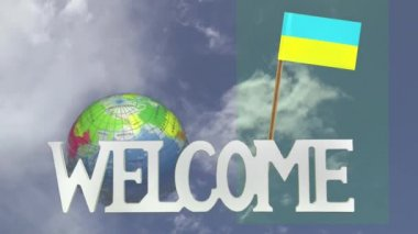 Turning globe and small paper flag of UKRAINE — Stock Video