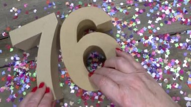 Womans hands are creating a birthday card — Stock Video
