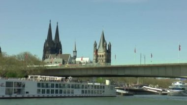 Cologne seen from a boat — Video Stock