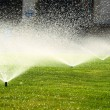 Garden sprinkler on the green lawn — Stock Photo #52564687
