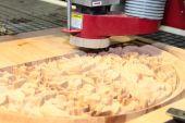 Machine is drilling wood — Stock Photo