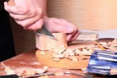 Carpenter hand carving wood — Stock Photo
