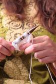 Woman hands knitting — Zdjęcie stockowe