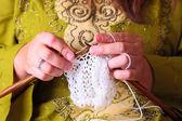 Woman hands knitting — Stock Photo