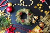 Decorations for making christmas wreath — Stock Photo
