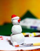 Making of snowman handmade figurine — Stock Photo