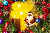 Santa Claus and Christmas decorations — Stock Photo