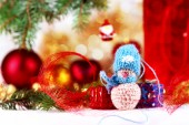 Little snowman and christmas decorations — Stockfoto