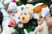 Fragment of christmas tree decorated with toys — Stockfoto