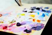Art paint palette with brushes and paints — Foto de Stock