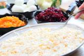 Russian traditional salad herring under fur coat — Stock Photo