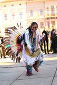 CHERNOVTSY, UKRAINE, October 22, 2010, Peruvian street musician singing and dancing — Stock Photo