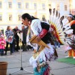 CHERNOVTSY, UKRAINE: October 22, 2010, Peruvian street musician singing and dancing — Stock Photo #72715921