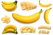 Banana and collection of different bananas  — Stock Photo
