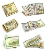Collection of one hundred dollars — Foto Stock