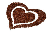 Heart from coffee beans — Stock Photo