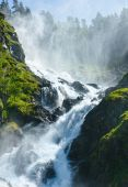 Summer Latefossen waterfall on mountain slope (Norway). — Foto Stock