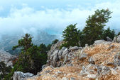 Summer morning cloudy top view of Mount Aenos (Kefalonia, Greece — Foto de Stock