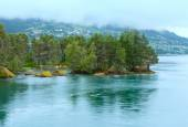 Summer cloudy fjord landscape (Norway). — Stockfoto