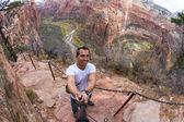 Selfie while hiking angels landing — Stock Photo