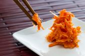 Small serving of fermented carrots  — Stock Photo