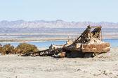 Rusty crane in the Salton sea — Stock Photo
