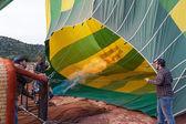 Inflating a hot air balloon — Stock Photo